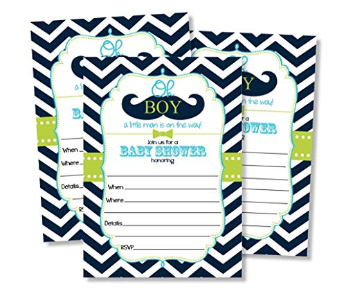 50 Mustache Oh Boy! Baby Shower Invitations and Envelopes (Large Size 5x7) Little Man Baby Shower