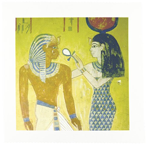 3dRose qs_82989_1 Egypt, Valley of The Kings, Wall Painting, Pharaohs Tomb HI01 PRI0013 Prisma Quilt Square, 10 by -