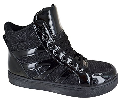 KOLLACHE Ladies High Top Trainers Womens Lace up Shiny Sport Shoes Black rg4FAu4x