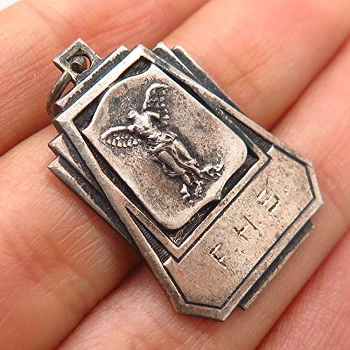 925 Sterling Silver Vintage F.H.S. Engraved Angel Statue Crest Pendant Jewelry Making Supply by Wholesale Charms