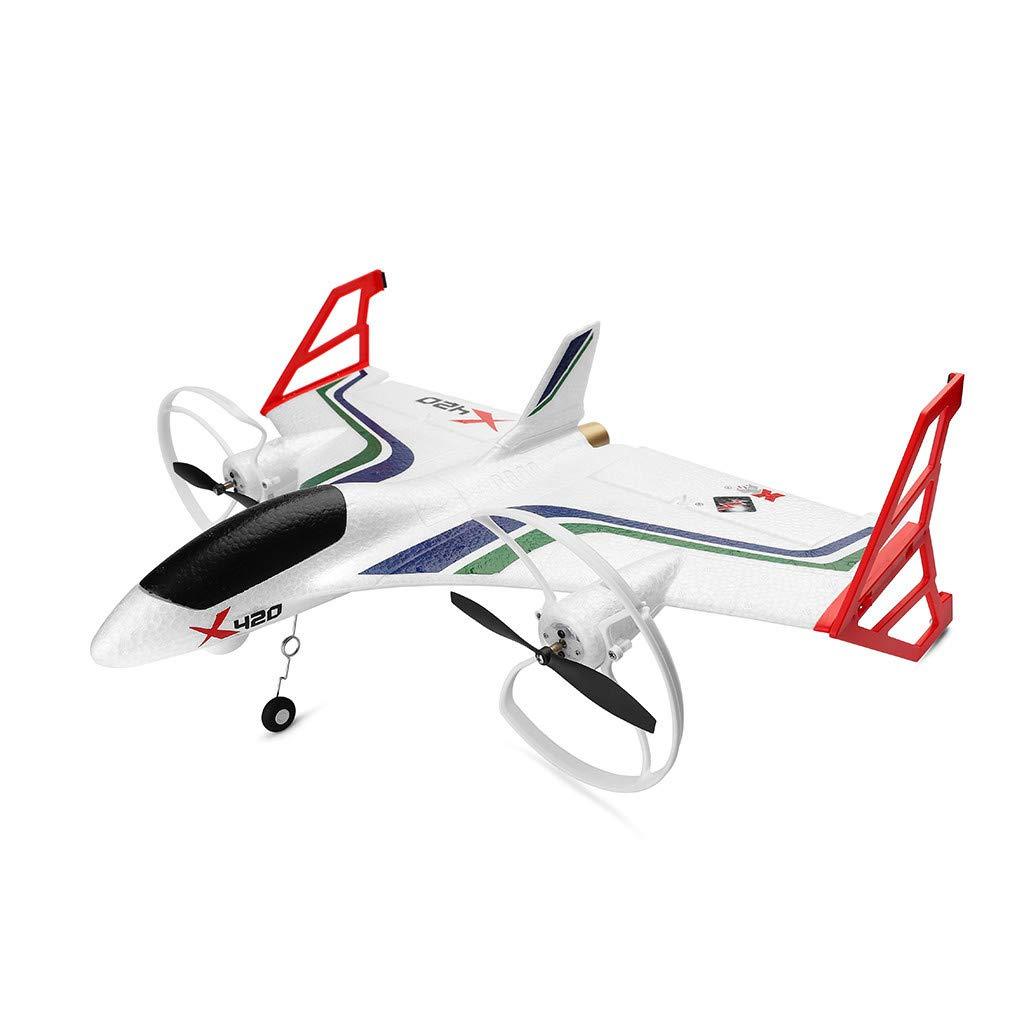 Jeeke XK X420 2.4G 6CH 3D6G Aerobatic Vertical Take-Off and EPP RC Airplane RTF, 4.3g High-Precision Digital Servo, 3D/6G Mode Conversion, Ship from USA (White)