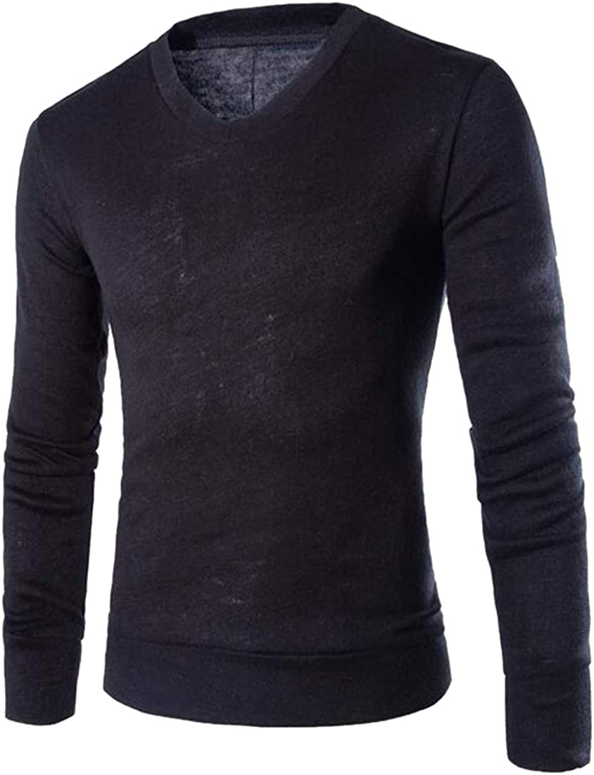 Fensajomon Men Knit V-Neck Slim Solid Color Fall /& Winter Pullover Sweater Jumper Black M