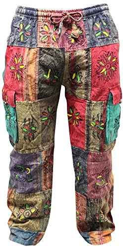 Shopoholic Fashion Men's Patchwork Cargo Trouser Wide Leg Hippie Festival Casual Combat Pants MultiColored [XXXL] -