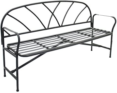 Achla Designs AR-07 Lattice Metal Folding Garden Bench, Black