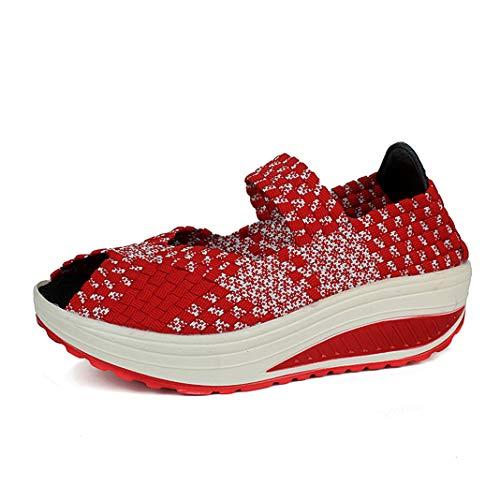talon épais pour rond fond femmes décontracté rouge aiguille plates Chaussures épais wSqtC7xFP7