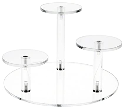 Plymor Brand Clear Acrylic Round 8u0026quot; Base Riser With 3 Round 3u0026quot;  Display Pedestals