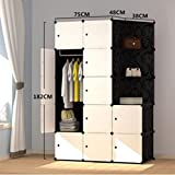 Yigui Portable Clothes Closet Wardrobe Bedroom Armoire Dresser Cube Storage Organizer,Space Saving,Ideal Storage Organizer Cube For Books, Toys, Towels,12Cubes& 1 Hanging Sections