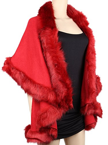 Womens Faux Fur Cape Coats Dress Plus Size (Wine Red) by Winfunup (Image #2)