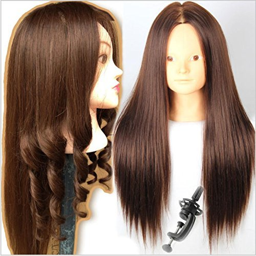 Royalvirgin Cosmetology Mannequin Heads with Hair Mannequin Head Brown Maniqui Maniquies Women Female no Makeup Training Hairstyle Cutting