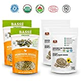 Basse Nuts Organic Seeds Bundle with Pumpkin Seeds (58 ounces) and Sunflower Seeds (84 ounces), Roasted and Salted Shelled Kernels, USDA Certified 8.9 Pounds Total