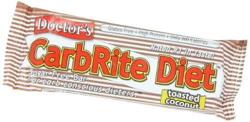 Universal Nutrition Gluten Free, Sugar Free, Doctor's CarbRite Diet Protein Bar Toasted Coconut 2 oz bar 12 Count