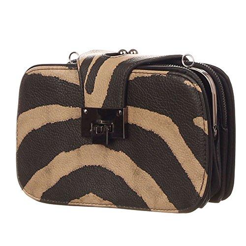Zebra Design Handtasche schw/taupe Umhängetasche Henkeltasche für Damen Mädchen in hochwertiger Lederoptik - übersichtliche Tascheneinteilung