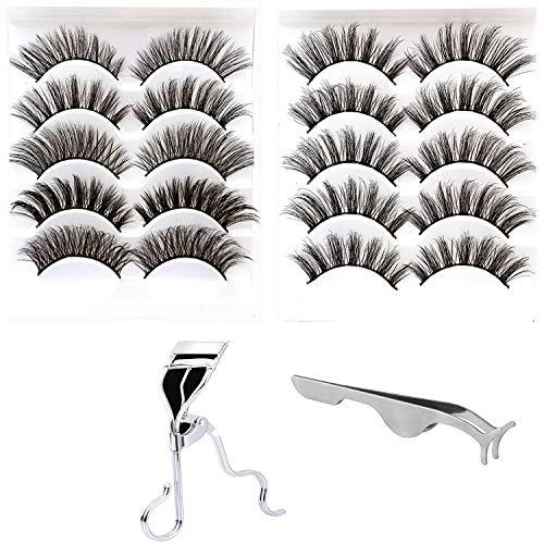 10 Pairs 5 Styles Natural False EyelashesFake Eyelashes Reusable 3D Handmade False Eyelashes Set for Natural Look with Free False Lashes Applicator, Eye lashes Curler ()