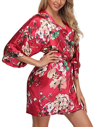 - Giova Women's Floral Kimono Robe Short Flower Print Dressing Gowns for Bride and Bridesmaids