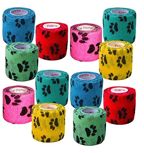 Prairie Horse Supply 2 Inch Vet Wrap Tape Bulk (Paw Prints Variety) (Pack of 12) Self Adhesive Adherent Adhering Flex Bandage Rap Grip Roll for Dog Cat Pet