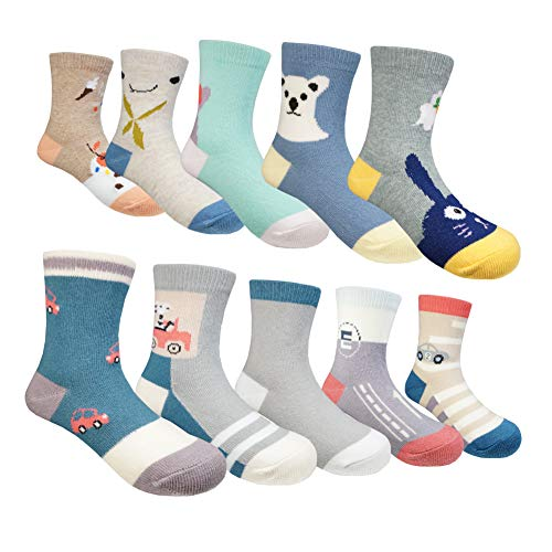 Muyubei Fashion Casual Style Boys and Girls Children's Wearing ,Cute Cartoon Car,Bear and Cat Pattern,,Spliced,Stripes,Blue,Gray Color Cotton Baby's Socks,10 Pairs (Animals, M-4-6 Years(13-17cm)) (Pattern Cartoon Casual)