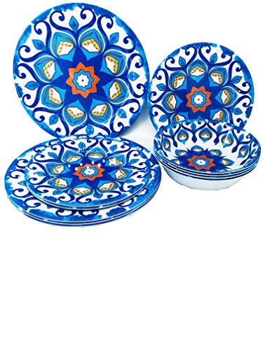 Set Of 12 Dinnerware Set Elegant Blue Red Flowers Mix(Sophisticated Blue Red Pattern)