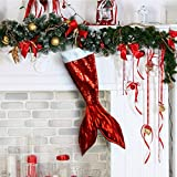 Red Mermaid Tail Christmas Stocking Holiday Decor for Kids