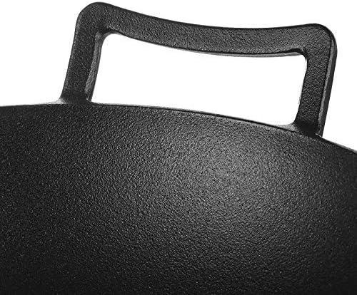 S-TING 鍋 古いスタイルの鋳鉄のパン、木製で太いウォック、物理ノンスティックシチューポット、ふた32センチメートル 不沾鍋 鍋子 萬用鍋 炒め鍋 フライパン