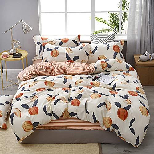 Peaches Striped Bedding Fruit Duvet Cover Set Peaches and Red Stripes Reversible Design Fruit Comforter Cover Set King (104×90) 1 Duvet Cover 2 Pillowcases (King, Peach)