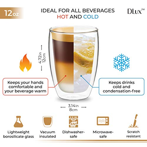 DLux Coffee Mugs, 12oz Latte Clear Glass set of 2 cups, Double Wall Insulated Borosilicate Glassware Cup - Wine, Tea Glasses