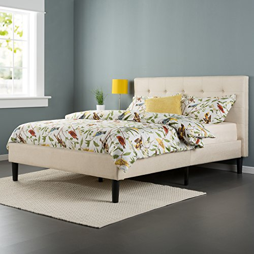 Zinus Upholstered Square Stitched Platform Bed with Wooden Slats, Full (Headboard Soft)
