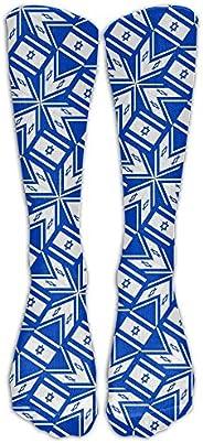 FUNINDIY Israel Flag Artascope Flower Compression Socks Soccer Socks High Socks Long Socks For Running,Medical