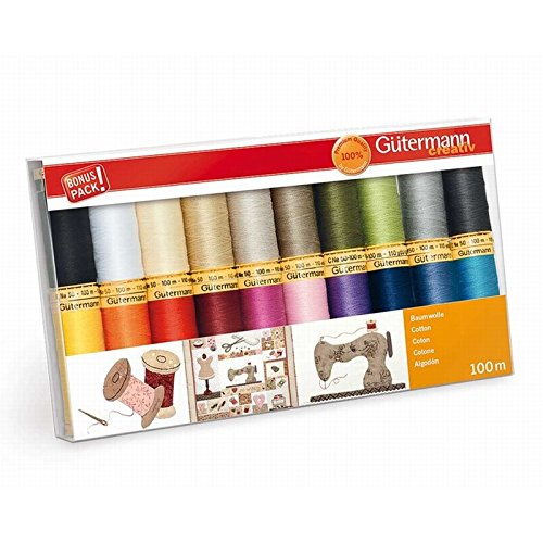 - Gutermann Colorful Cotton 50 Mercerized Thread Set 20 x 100m Reels