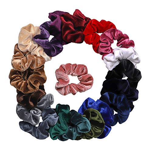 Qivange 20 Pcs Velvet Scrunchies for Hair Soft Elastic Hair Bands Scrunchy Hair Ties Ropes Scrunchies for Women and Girls Hair Accessories - 20 Assorted Colors -