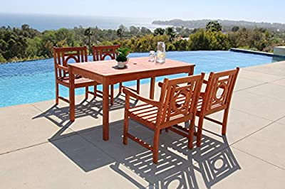 Vifah Malibu 5-Piece Outdoor Hardwood Dining Set with Rectangle Table and 4 Arm Chairs