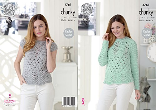 King Cole Ladies Chunky Knitting Pattern Lacy Long or Cap Sleeved Raglan (Cap Knitting Pattern)