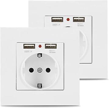 Dightyoho Enchufes de pared, Caja de enchufe tipo Schuko con 2 puertos USB, se adapta a tomas de corriente estándar, para cargar dispositivos móviles, Smartphone, MP3, Tableta (2): Amazon.es: Bricolaje y herramientas