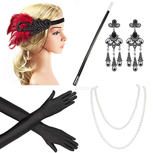 Beelittle 1920s Accessories Headband Earrings Necklace Gloves Cigarette Holder (E5) ()