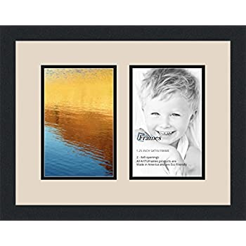 arttoframes collage photo frame double mat with 2 6x9 openings and satin black frame