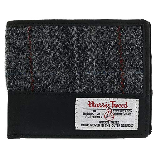 The British Bag Company Men's Berneray Harris Tweed and Leather Bifold Wallet, Black - Mans Harris Tweed