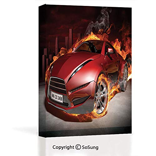 (Modern Gallery Wrapped Canvas Wall Art,Red Sports Car Burnout Tires in Flames Blazing Engine Hot Fire Smoke Automobile Decorative Ready to Hang for Living Room Kitchen Home Decor,12