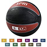 SPRI Xerball Medicine Ball Thick Walled Durable Construction with Textured Surface, Red, 6-Pound