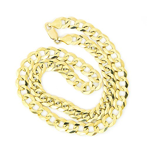 Men's Solid 14k Yellow Gold Comfort Cuban Curb Heavy 10mm Chain Necklace, 22'' by Beauniq