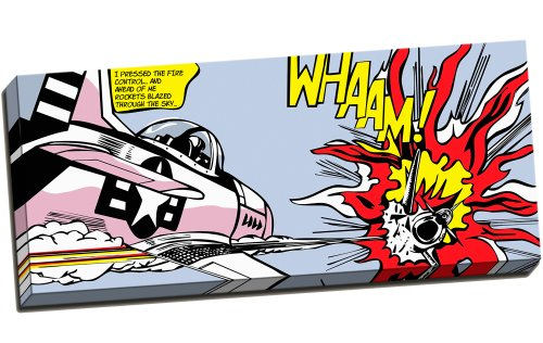 "Panther Print Framed Canvas Roy Lichtenstein Whaam! Dogfight Pop Art Vector Print 30""X12"" Inches (76.2Cm X 30.5Cm)"