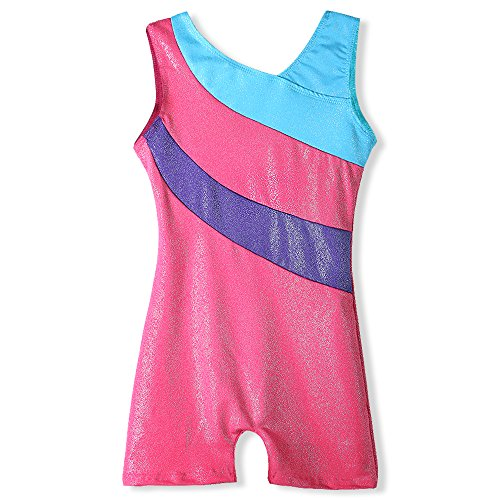 Ribbon Dance Costume (One-piece Girls Gymnastic Leotards Sparkle Ribbon Sleeveless Dance Leotards for Kid Girls Training Biketard Dancewear Practice Costume (Hot pink, 130(6-7Y)))