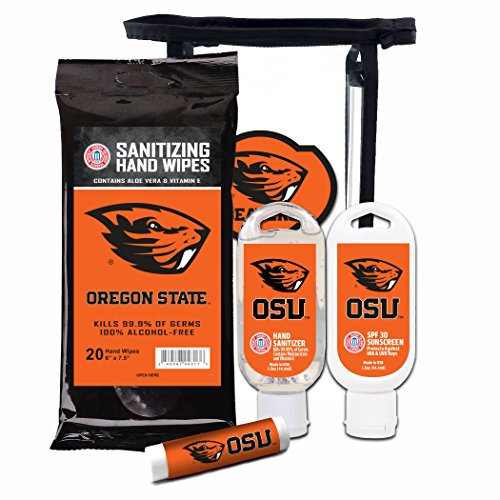 Worthy Promotional NCAA Oregon State Beavers 4-Piece Premium Gift Set with SPF 15 Lip Balm, Sanitizer, Wipes, Sunscreen