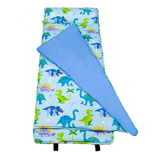 Wildkin Original Nap Mat, Olive Kids by Children's Original Nap Mat with Built in Blanket and Pillowcase, Pillow Insert Included, Premium Cotton and Microfiber (Dinosaur Sleeping Bag)