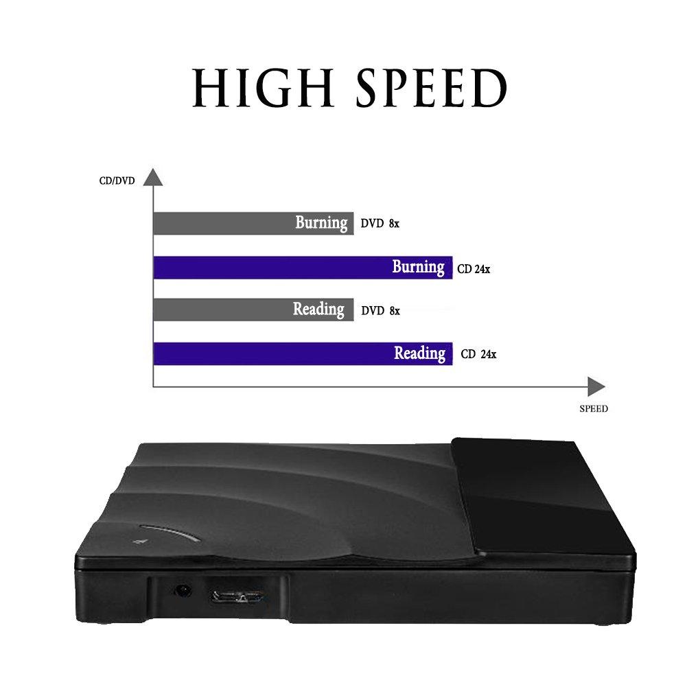 Sunreal External DVD Drive, USB 3.0 CD DVD Drive Ultra Slim Portable Touch Control CD/DVD Burner Writer Reader Player for Laptop/Desktop Computer, Support Windows/Vista/ Mac OS(Black) by Sunreal (Image #6)
