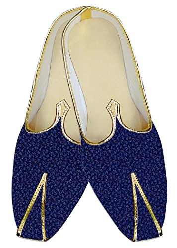 Inmonarch Hombres Royal Blue Wedding Zapatos Flower Printed Mj015269
