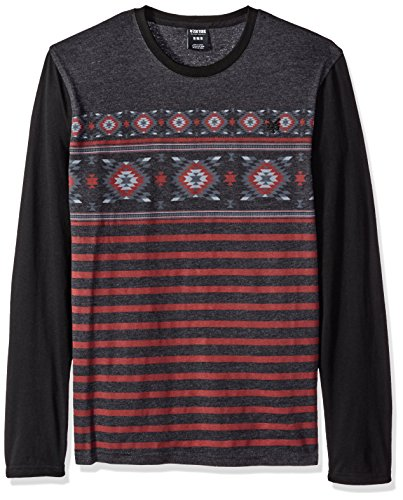 [Zoo York Men's Stone Cold Long Sleeve Crew, Black Heather, Large] (Aztec Print Shirt)
