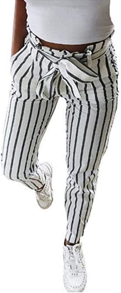 Mujer Flacas Pantalones Vaqueros a Rayas a Rayas Corbata Cintura ...