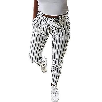 Mujer Flacas Pantalones Vaqueros a Rayas a Rayas Corbata ...