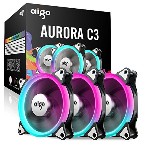aigo 120mm C3 3-Pack RGB LED PMW Quiet High Airflow Color Adjustable Computer Case Fan PC Cooler Radiator Fan with Controller, Fan Speed and Light Speed Controllable