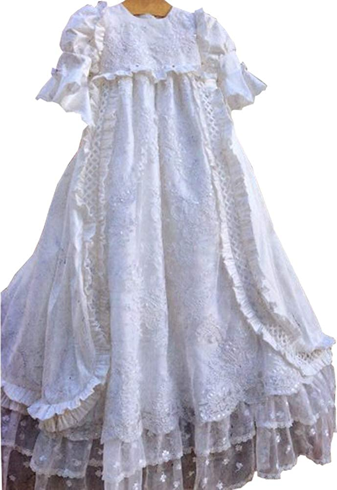 Michealboy Ruffled Sleeves Christening Dress Heirloom Baptism Long Gown Lace Edge