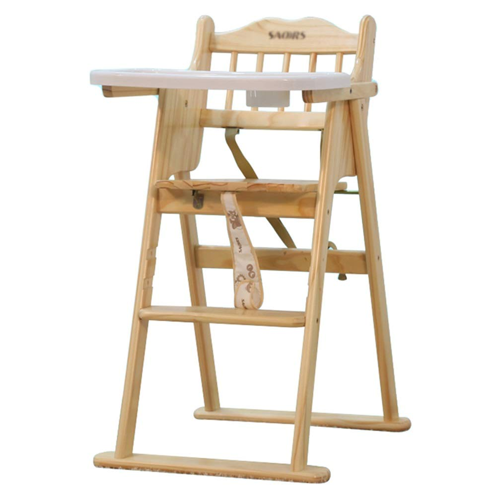 LXLA - 赤ん坊および幼児の食事のための純木の折目の高い椅子、3点ハーネス及び皿 (色 : ナチュラル)  ナチュラル B07NVLF7JS